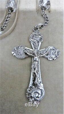 CHAPELET ARGENT MASSIF CRISTAL SOLID SILVER ROSARY crucifijo rosario crocifisso
