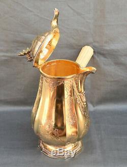CHOCOLATIERE ARGENT MASSIF MINERVE VERMEIL STYLE LOUIX XIV silver chocolate pot