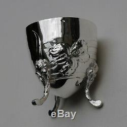 COQUETIER EN ARGENT MASSIF ART NOUVEAU IRIS Sterling Silver Egg Cup