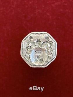 Cachet sceau étui à cire en argent massif XVIIIe Antique silver wax case & seal
