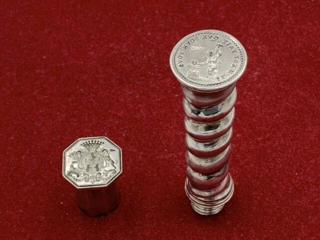 Cachet Sceau étui Cire En Argent Marquis Angelot Xviiie Antique Silver Wax Seal