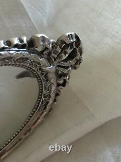 Cadre Argent Ovale XIX Miniature Noeud Louis XVI Fleurs Silver Frame Minerve