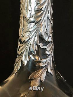 Carafe à Liqueur Cristal Taillé & Argent Massif XIX ème Siècle Antique Silver