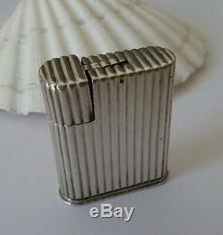 Cartier ancien Briquet a essence Argent Massif petrol silver lighter Art deco