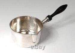 Casserole argent massif Minerve manche bois noirci silver saucepan XIXème