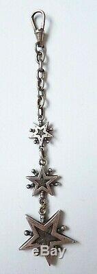Chaine giletière chatelaine argent massif étoile de Digne Saint Vincent silver