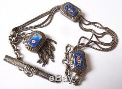 Chaine montre à gousset ARGENT et émail 19e siècle silver watch Albert chain