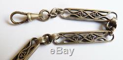Chaine montre à gousset argent massif bijou ancien silver watch chain 40gr