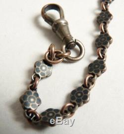 Chaine montre gousset en argent massif niellé silver chain 19e siècle