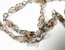 Chaine sautoir collier argent massif bijou ancien 19e siècle silver chain