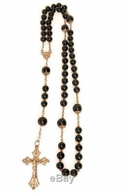 Chapelet Jaspe Sanguin Et Argent Massif Bloodstone & Silver Rosary France 19e S