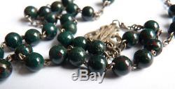 Chapelet argent avec perles de jaspe sanguin croix Ancien silver rosaire rosary