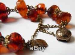 Chapelet bracelet dizainier AMBRE vermeil rosaire amber rosary silver 19e siècle