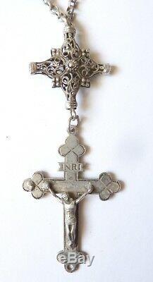 Chapelet dizainier en argent massif silver rosaire rosario 19e siècle