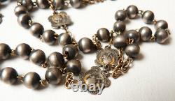 Chapelet rosaire en argent massif 19e siècle croix Christ silver rosario