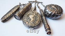 Chatelaine argent massif vermeil 19e silver poudrier canif flacon miroir