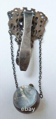 Chatelaine clavet porte montre boule ARGENT 19e sièc bijou gousset silver watch