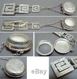 Chatelaine clavet porte montre gousset en argent massif 19e siècle silver chain