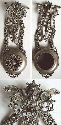 Chatelaine porte montre à gousset argent massif vermeil 19e ange silver angel