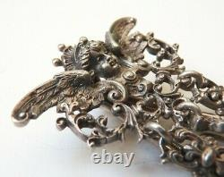 Chatelaine porte montre gousset argent massif vermeil 19 ange watch silver angel