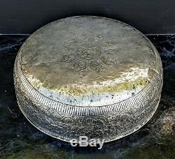 Chine Grand Bassin Coupe Bol Argent Massif Indonesian Silver Bowl Burmese D. 31c