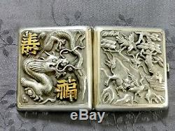 Chinese Export Silver Cigaret Case Argent Massif Chine Etui A Cigarettes