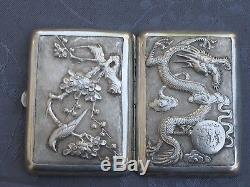 Chinese Export Silver Cigarette Case Argent Massif Chine Dragon