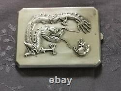 Chinese Export Silver Dragon Etui Cigarettes Argent Massif Vietnam Dragon