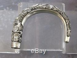 Chinese Export Silver Dragon Manche Canne Argent Massif Chine