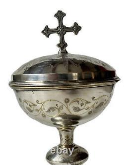 Ciboire en Argent Massif Minerve Église Époque XIX ème Antique Silver Ciborium