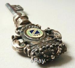 Clé clef de chateau argent massif avec couronne ancien S. Giuseppe silver key