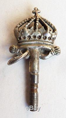 Clé clef de montre à gousset ARGENT 18e siècle Couronne royale silver key watch