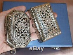 Coffret 2 boîtes Argent massif d'Inde ajourées & guillochées New Delhi Silver