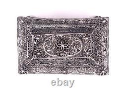Coffret boîte à bijou en argent filigrané c. 1920 Antique silver box Poland 396 g