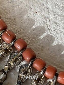 Collier Ancien Yemen Corail Argent Antique Yéménite Red Coral Silver Necklace