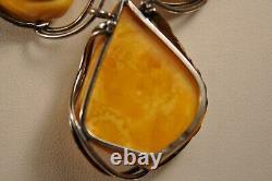 Collier Vintage Argent Massif Ambre Egg Yolk Amber Solid Silver Necklace