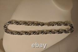 Collier Vintage Grosses Mailles Argent Massif Solid Silver Necklace 44gr