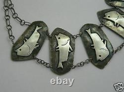 Collier argent massif design XX vintage sterling silver necklace hopi no buckle