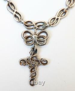 Collier croix argent et marcassite necklace silver BIJOU ANCIEN regional cross