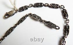 Collier médaillon + chaine argent massif + marcassite ART DECO silver necklace