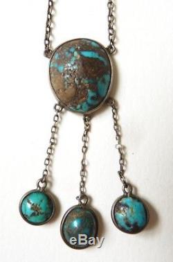 Collier négligé argent massif + turquoises necklace silver BIJOU ANCIEN