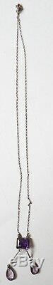Collier negligée en argent massif + améthystes silver bijou ancien necklace