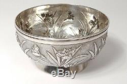 Coupe bol argent Chine Shanghai Woshing fleurs 393gr Chinese silver XIXème