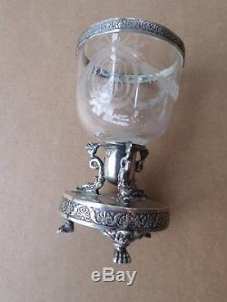 Coupe-centre de table-poinçon Vieillard-XIXe-Argent Massif-cristal gravé-silver