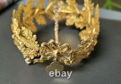 Couronne De Statue Feuille De Chene Et Laurier Argent Massif Silver Crown