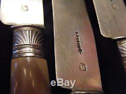 Couteaux à Dessert en Argent Massif Corne Silver Silber E Peter Paris Coquille