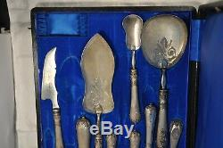 Couverts Service Ancien Argent Massif Antique Solid Silver Serving Silverware