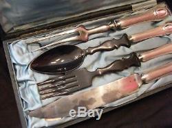 Couverts à Salade et Gigot en Argent Massif Silver Silber 13 Loths Médaillon