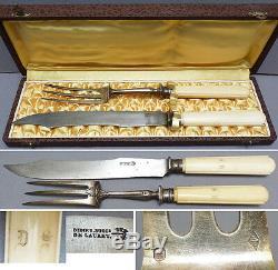 Couverts à découper roti en ARGENT massif Lauret silver knife 19e siècle Queillé