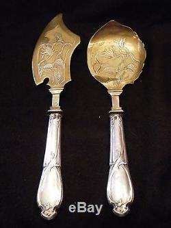 Couverts de Service à Glace Art Nouveau Argent Massif Silver Silber Jugendstil